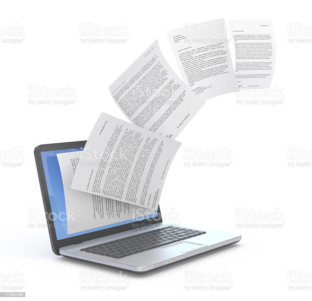 Uploading documents from laptop. stock photo
