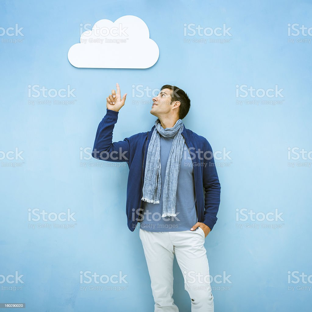 Uploading to the cloud stock photo