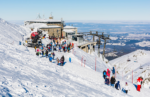 Upper aerial tramway stations at peak Kasprowy Wierch, which tourists and skiers leave to admire the winter landscape of the Tatra Mountains. Polish Ropeways.