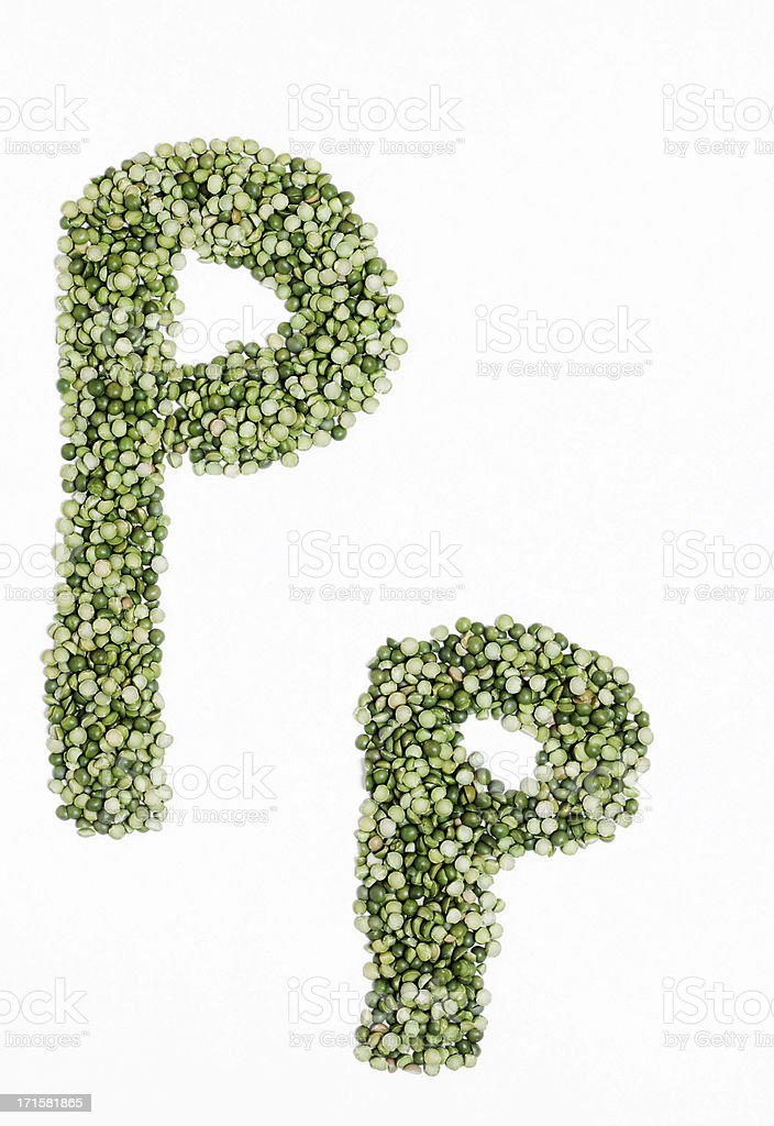 Upper and Lower Case Letter P made with Split Peas royalty-free stock photo