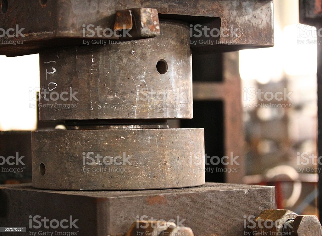 upper and lower die to press stock photo