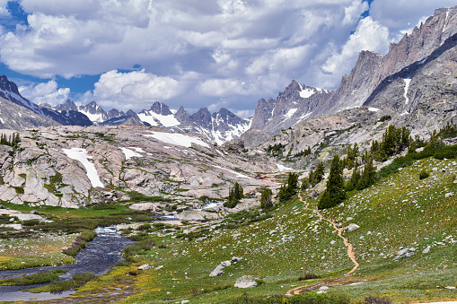 Upper and Lower Jean Lake in the Titcomb Basin along the Wind River Range, Rocky Mountains, Wyoming, views from backpacking hiking trail to Titcomb Basin from Elkhart Park Trailhead going past Hobbs, Seneca, and Island Lakes as well as Photographers point