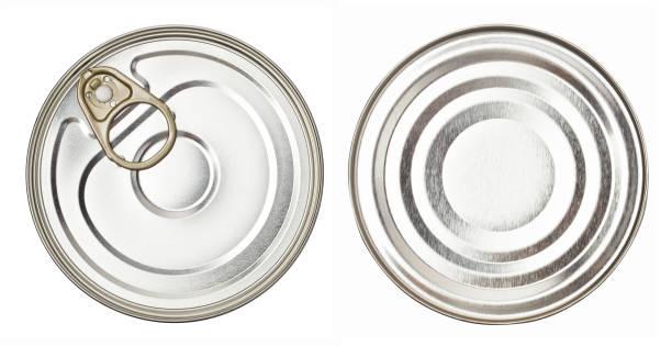 upper and lower views of metal tin can on white - lata comida gato imagens e fotografias de stock