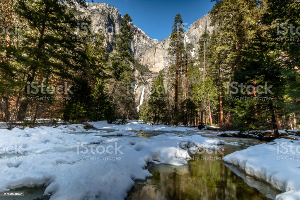 Upper and Lower Yosemite Falls - Yosemite National Park, California, USA stock photo