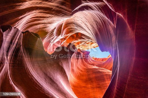 Beautiful view of amazing sandstone formations in famous Upper Antelope Canyon near the historic town of Page at Lake Powell, American Southwest, Arizona, USA - Stock image
