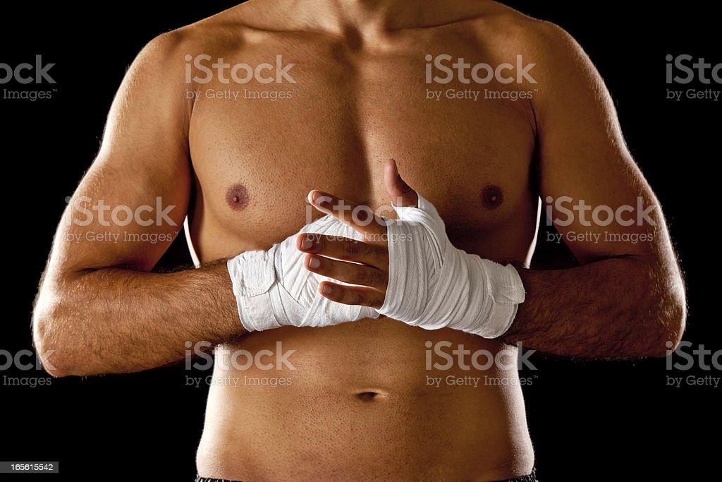 upper body of kickboxer stock photo