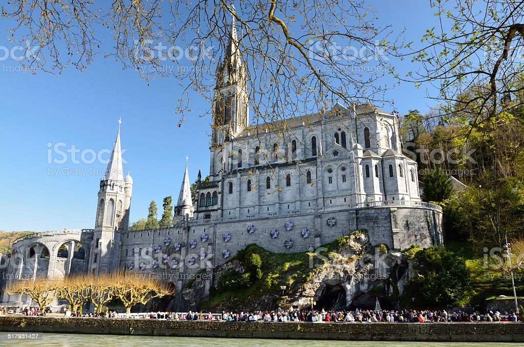 Upper church in Lourdes stock photo