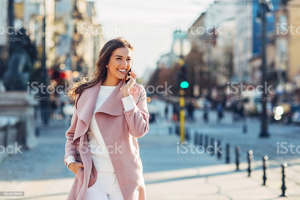 Upper class woman on the phone stock photo