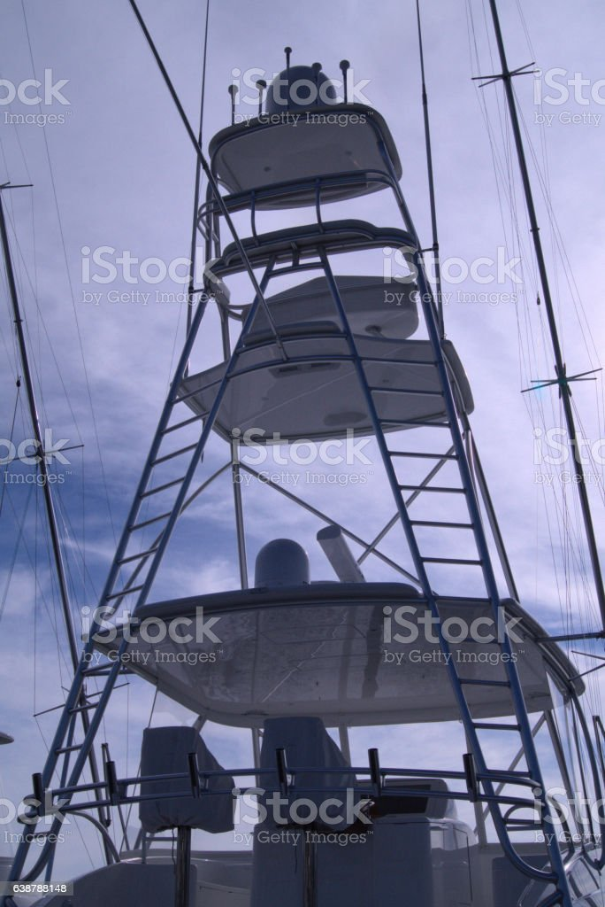 Upper deck of yacht stock photo