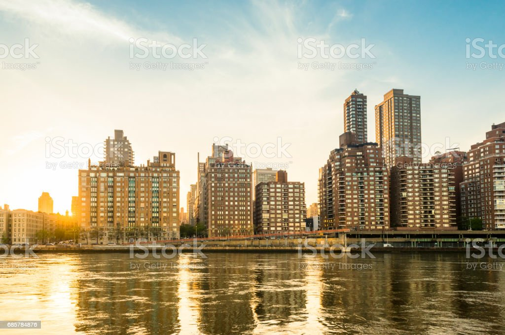 NYC Upper East Side Manhattan Residential Buildings at Sunset royalty-free stock photo