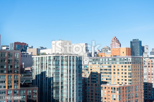 A portion of the Upper East Side New York skyline with mostly residential skyscrapers