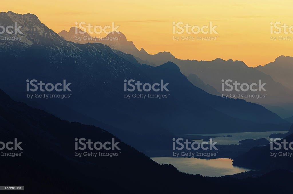 Upper Engadine With Mount Bernina And Lake St Moritz stock photo