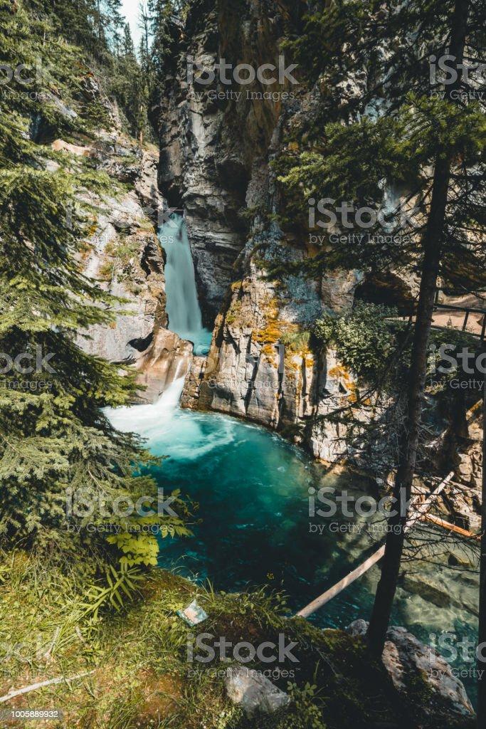 Upper falls Johnston Canyon Waterfall, Banff Nationalpark Canada Alberta stock photo