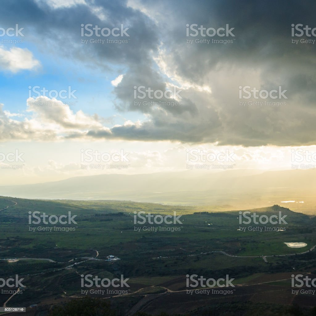 Upper Galilee mountains landscape stock photo