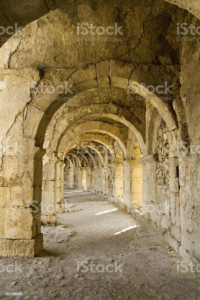Upper gallery at Aspendos Theater royalty-free stock photo