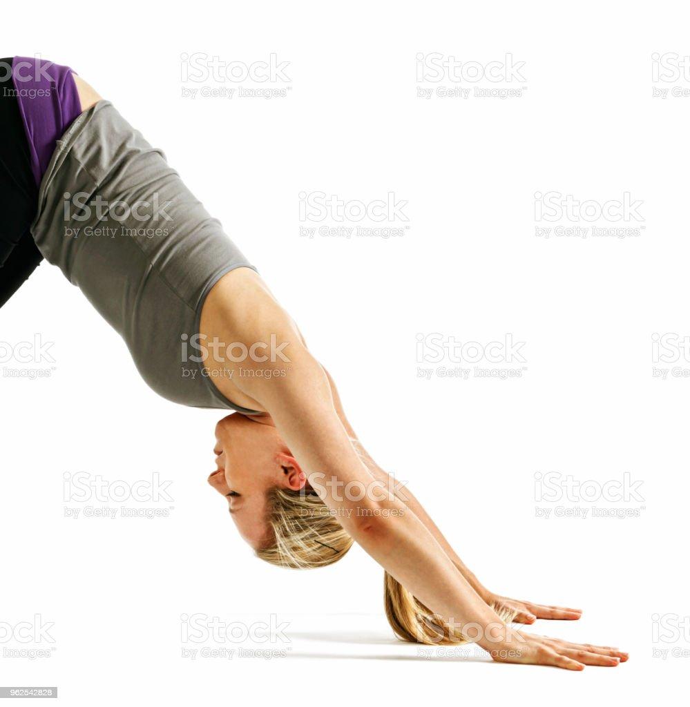 Metade inferior de mulher mostrando posição do Cachorro voltada para baixo pose de ioga - Foto de stock de Adulto royalty-free