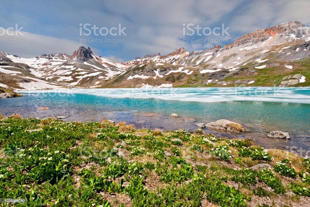 Upper Ice Lake and Surrounding Peaks stock photo