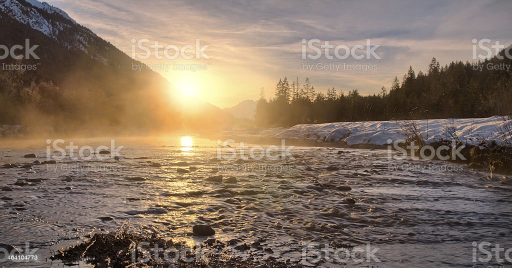 Obere Isar River Winter Sunset stock photo