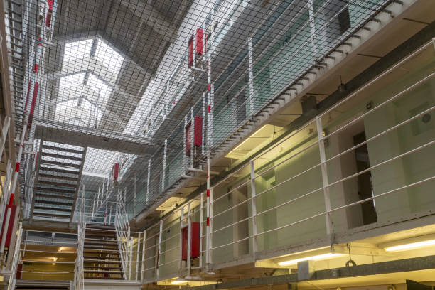 Upper levels of cells in a prison stock photo