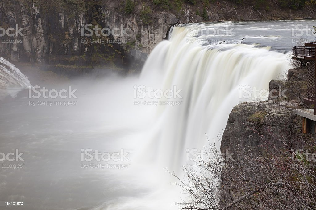 Upper Mesa Falls on Snake River in Teton Mountain Range stock photo