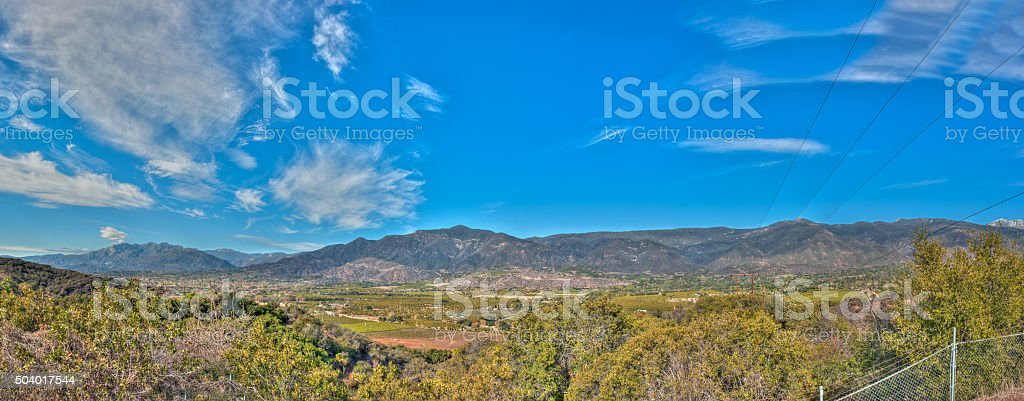 Upper Ojai looking down to the valley. stock photo