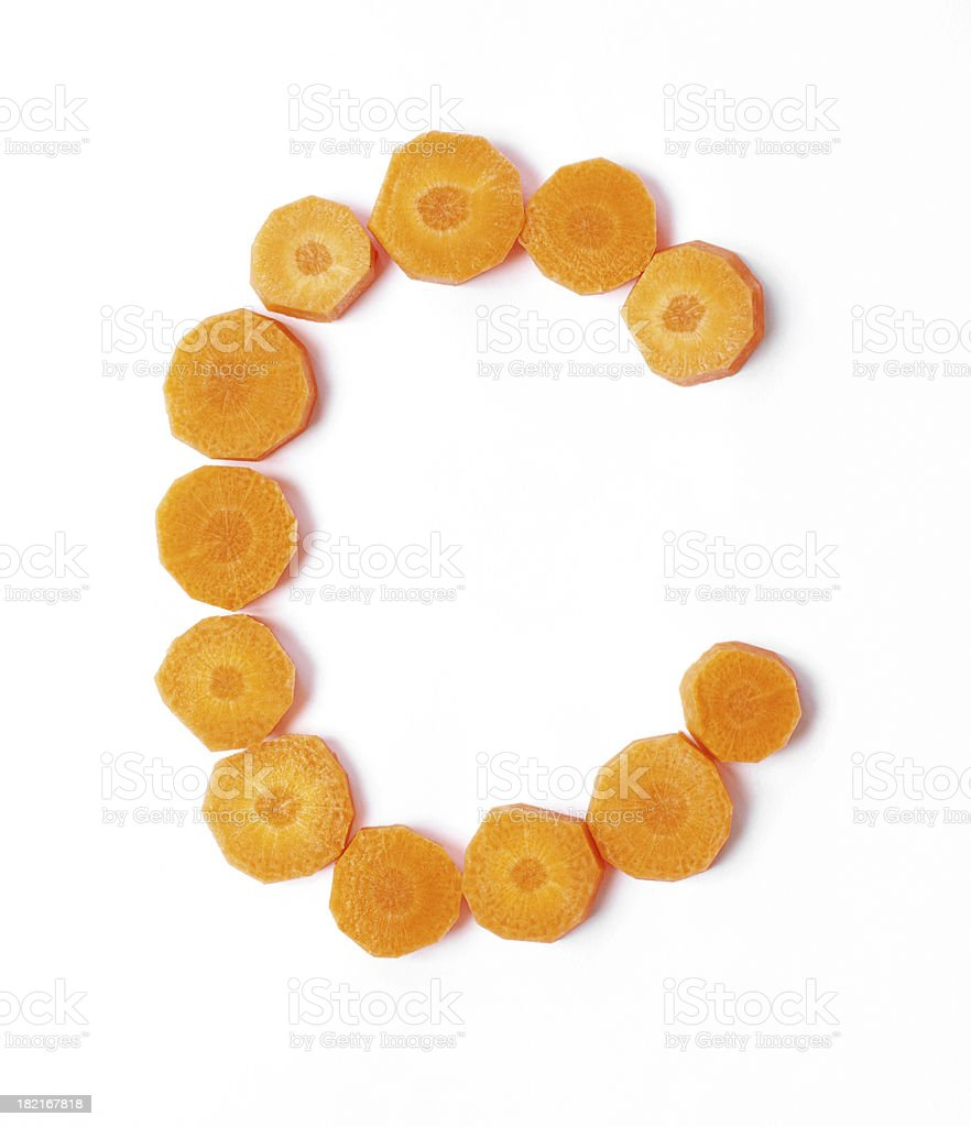 Upper or Lower Case Letter C made with Carrots Slices stock photo