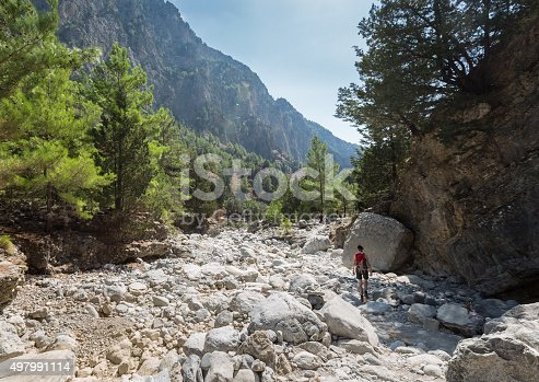 A woman on her way through the Samaria Gorge, Crete. The gorge is in southwest Crete in the regional unit of Chania and a major tourist attraction of the island  . It was created by a small river running between the White Mountains and Mt. Volakias. The gorge is 16 km long, starting at an altitude of 1,250 m (4100 ft.)at the northern entrance, and ending at the shores of the Libyan Sea in Agia Roumeli.