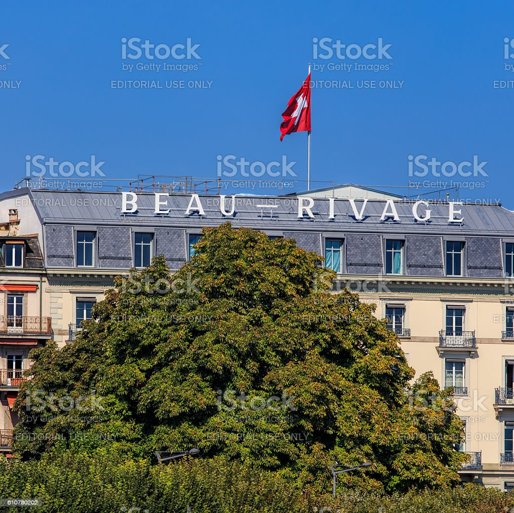 Upper part of the Hotel Beau Rivage building in Geneva stock photo