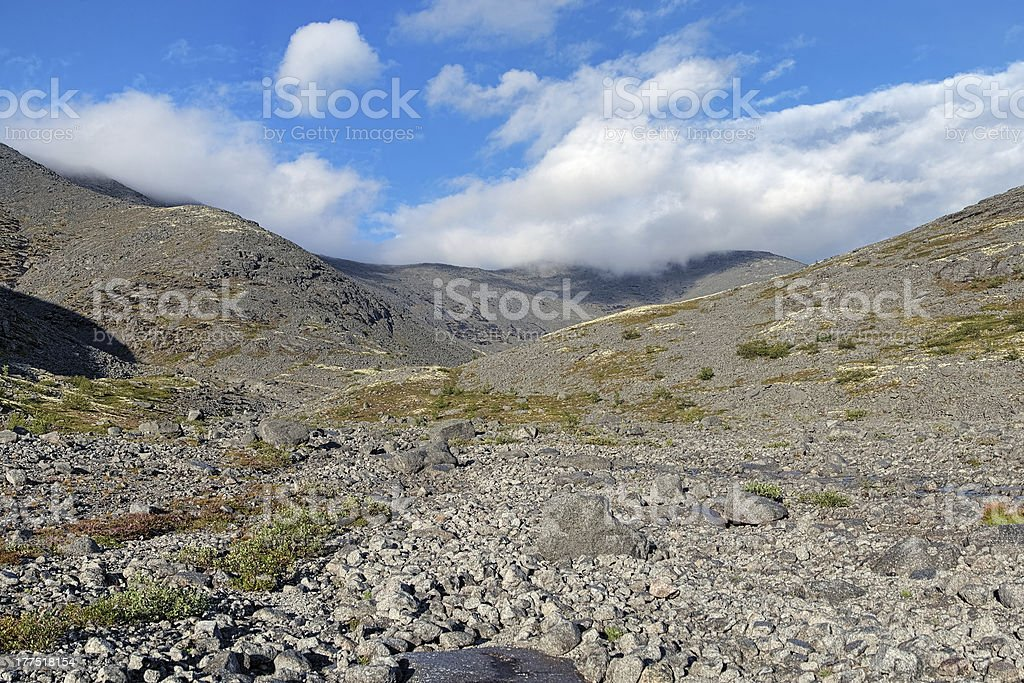 Upper reaches of Mannepahk Stream in Khibiny Mountains, Russia stock photo