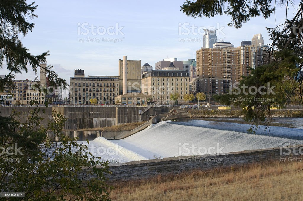 Upper Saint Anthony Falls in Minneapolis stock photo