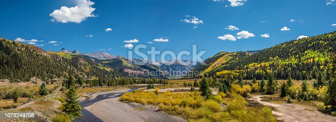 View of the San Miguel River in late September below Mountain Village. Telluride, Colorado.