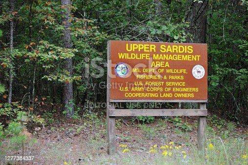 Abbeville, Mississippi - September 26, 2020: Sign for the Upper Sardis Wildlife Management Area, located along forest service road 244 near Abbeville, Mississippi.