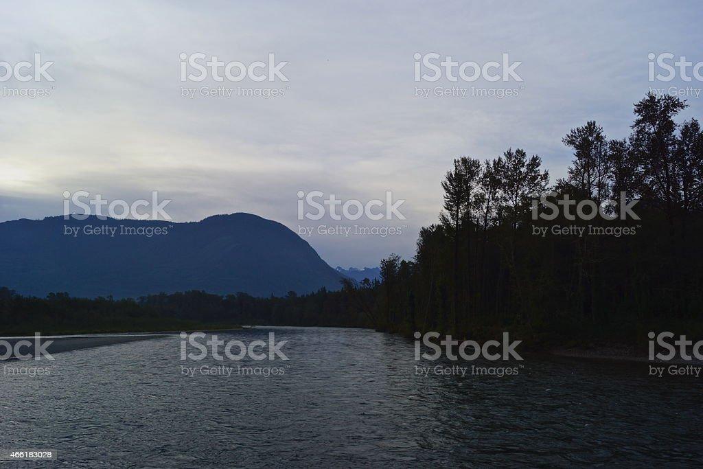 Upper Skagit River Dawn stock photo