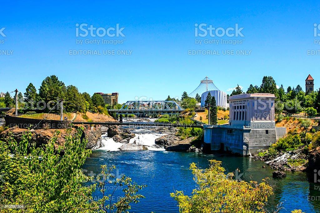 Upper Spokane river falls and Canada Island in Spokane, Washington stock photo