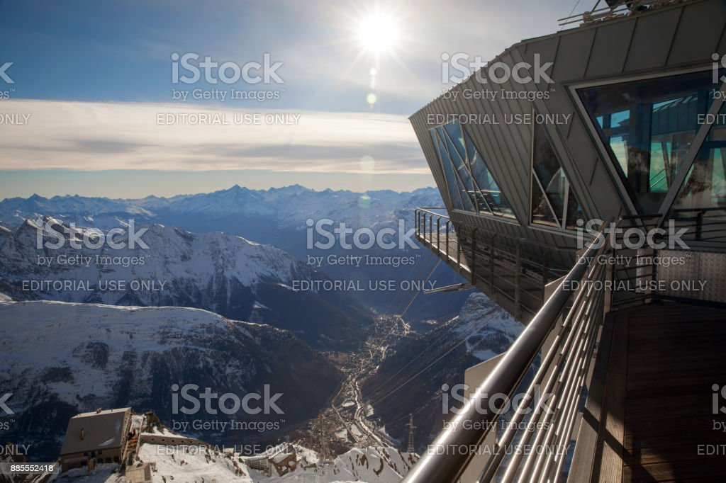 A upper station of 'Skyway Monte Bianco' cable car at Pointe Helbronner stock photo