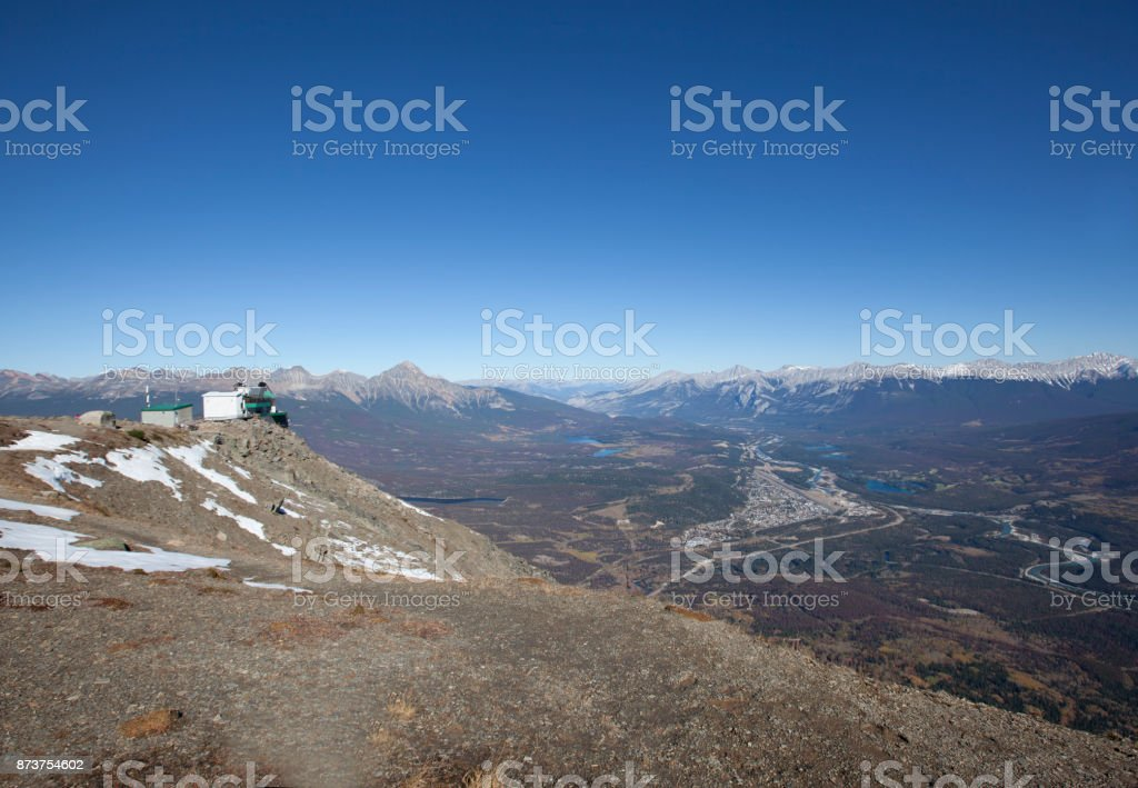 upper station on top of pyramid mountain stock photo