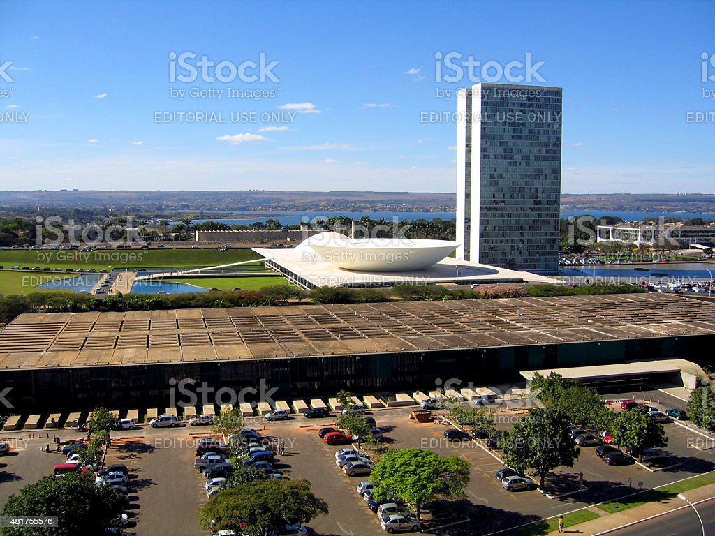 Vista superior do Brasil do Congresso Congresso Nacional de Brasília foto royalty-free