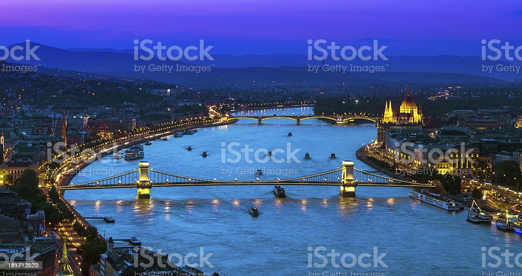 Upper view of Budapest over Danube river royalty-free stock photo