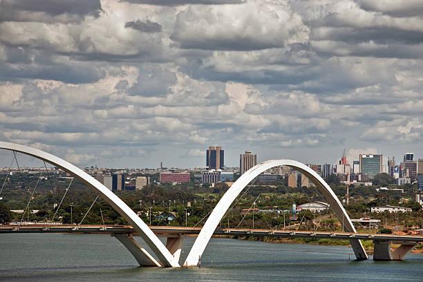 Upper View of JK Bridge and Brasilia City in Background - foto de acervo