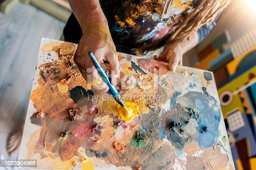 istock Upper view of Painter's palette 1053904968