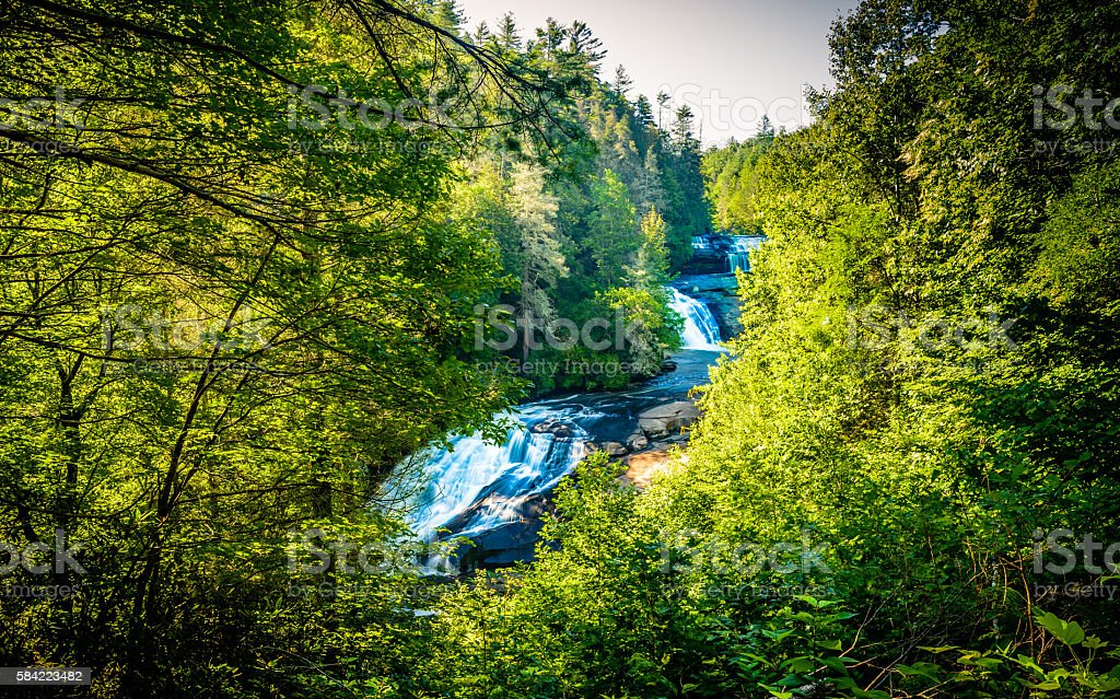 Upper view of Triple Falls in Western North Carolina stock photo