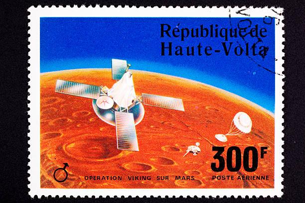 Upper Volta Postage Stamp Viking Space Explorer Ship Lander Mars stock photo