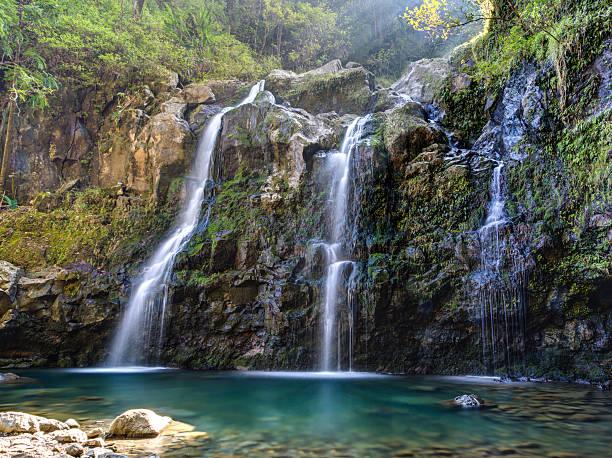 Upper Waikuni Falls on the Road to Hana stock photo