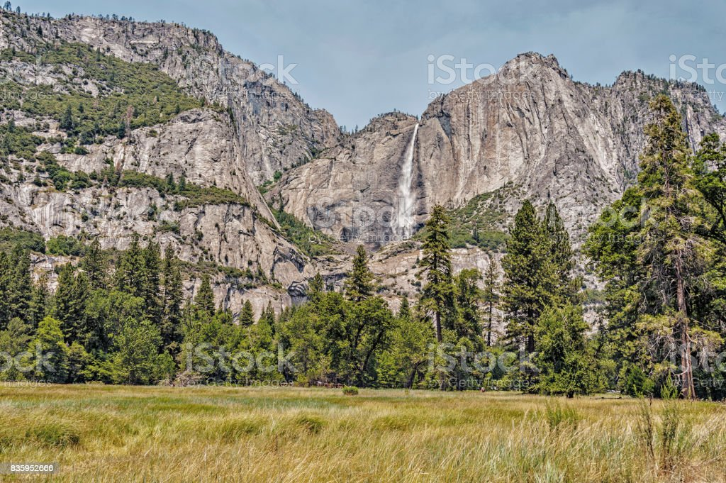 Upper Yosemite Falls in the National Park stock photo