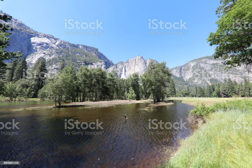 Upper Yosemite Falls in Yosemite National Park. California. USA stock photo