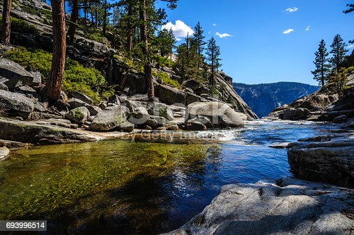 istock Upper Yosemite Falls: the river just before plunging down... 693996514