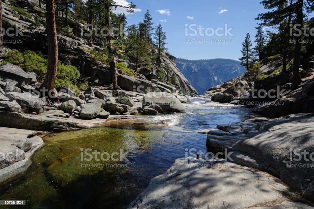 Upper Yosemite Falls: the river just before plunging down... stock photo