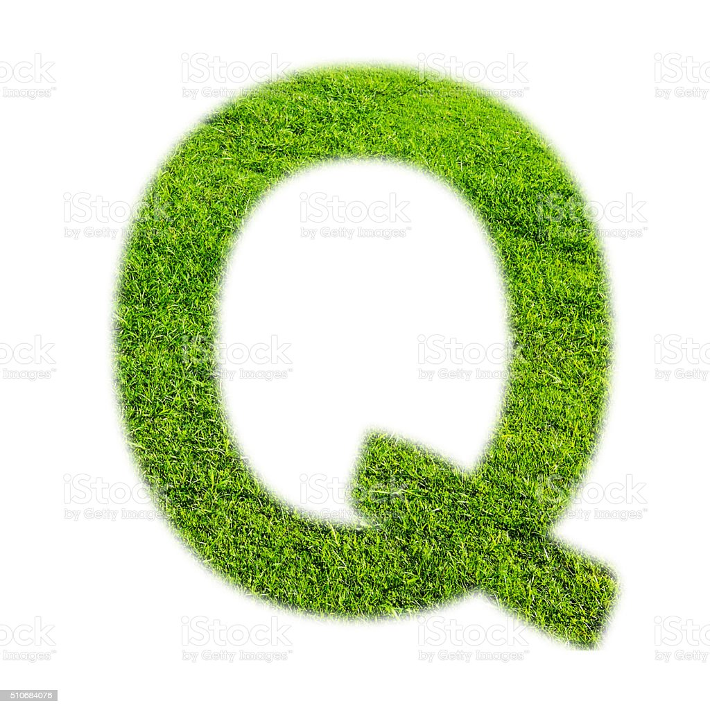 'Q' uppercase alphabet made of grass texture, isolated on white stock photo