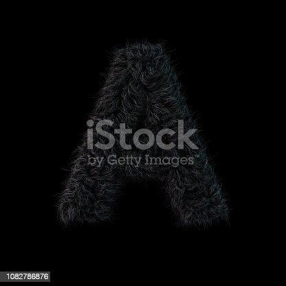 184953872 istock photo Uppercase fluffy and furry black font. Letter A. 3D 1082786876