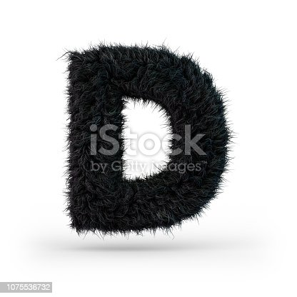 583978154 istock photo Uppercase fluffy and furry black font. Letter D. 3D 1075536732